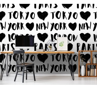 Black City Names Removable Wallpaper full view