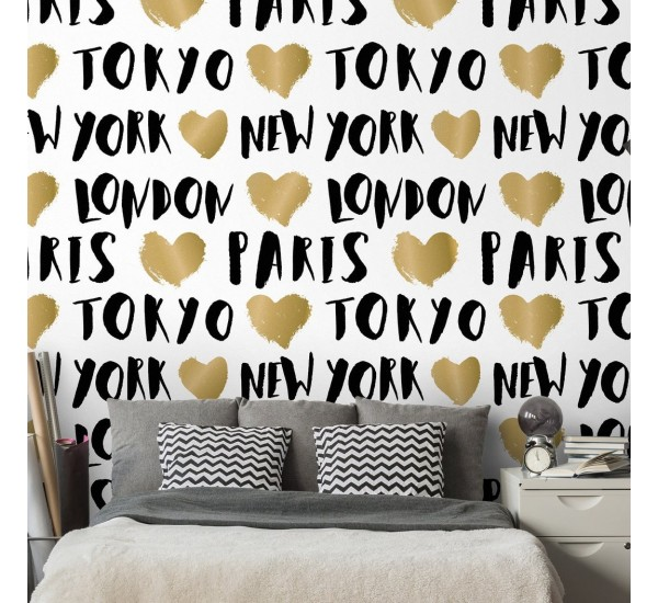 Gold City Names Removable Wallpaper