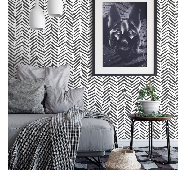 Black Herringbone Removable Wallpaper