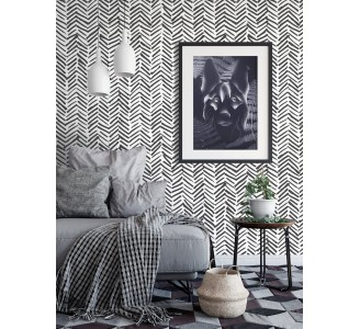 Black Herringbone Removable Wallpaper full view
