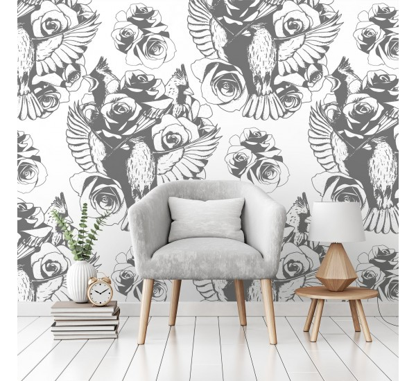 Birds and Roses Removable Wallpaper