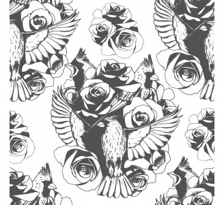 Birds and Roses Removable Wallpaper pattern