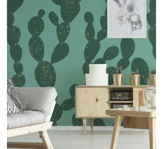 Seamless Green Cactus Removable Wallpaper