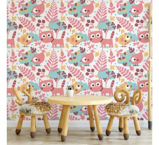 Pink Animals Removable Wallpaper