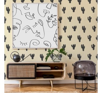 Black Cactus on Yellow Removable Wallpaper