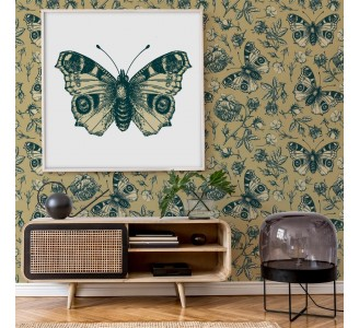 Peacock Butterflies and Roses Removable Wallpaper