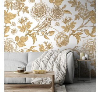 Garden Flowers and Birds Removable Wallpaper