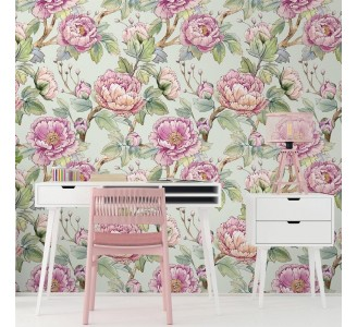 Watercolor Chinese Flowers Removable Wallpaper