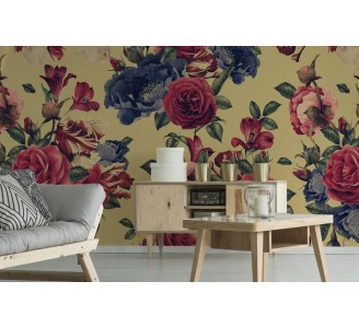 Watercolor Garden Roses Removable Wallpaper full view