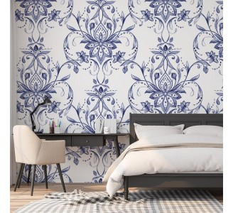 Paisley Blue Flowers Removable Wallpaper