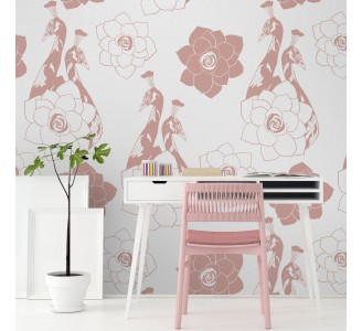 Pink Birds Removable Wallpaper