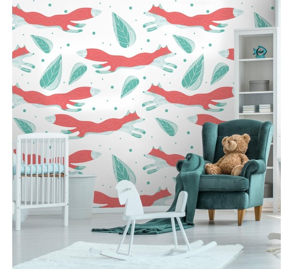 Foxes and Leaves Removable Wallpaper