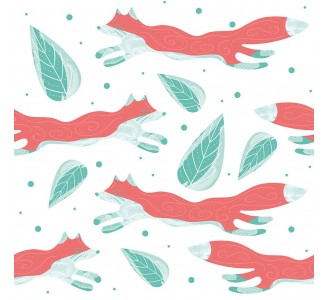 Foxes and Leaves Removable Wallpaper pattern