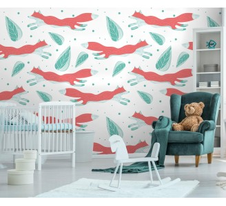 Foxes and Leaves Removable Wallpaper full view