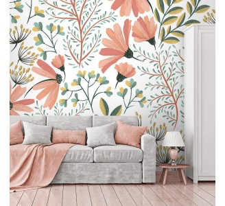 Vintage Pink Nature Removable Wallpaper