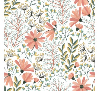 Vintage Pink Nature Removable Wallpaper pattern