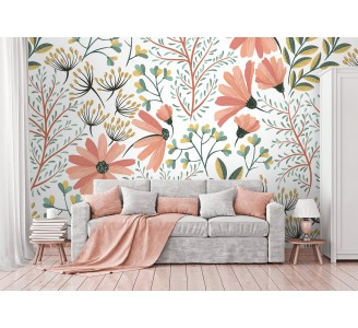 Vintage Pink Nature Removable Wallpaper full view