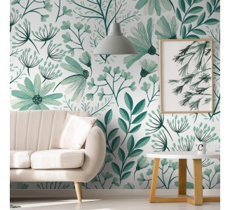 Vintage Mint Nature Removable Wallpaper