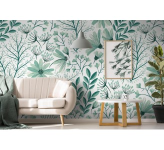 Vintage Mint Nature Removable Wallpaper full view