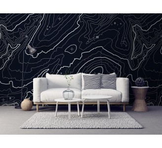 Dark Topographic Map Removable Wallpaper full view