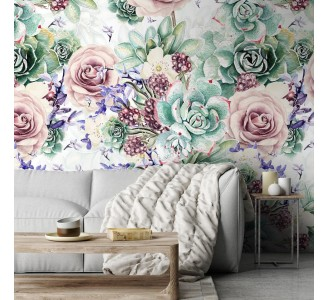 Watercolor Roses and Lavender Removable Wallpaper