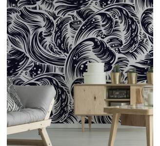 Black Sea Waves Removable Wallpaper