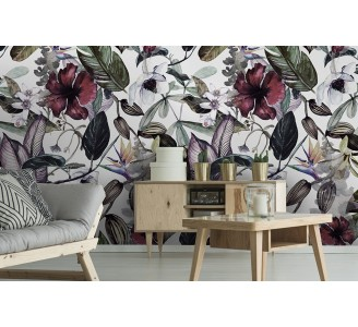 Magnolia Flowers Removable Wallpaper living room