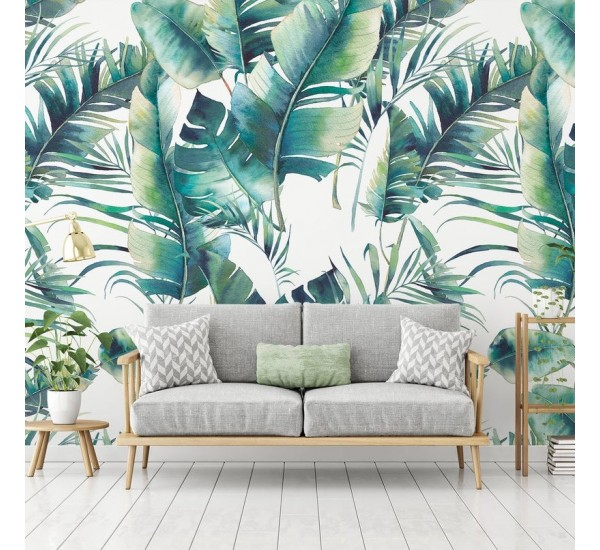Palm Tree and Banana Leaves Removable Wallpaper