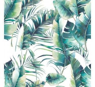 Palm Tree and Banana Leaves Removable Wallpaper pattern