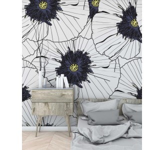 Lovely Hibiscus Removable Wallpaper living room