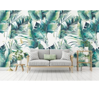 Palm Tree and Banana Leaves Removable Wallpaper full view
