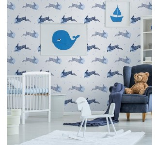 Lively Rabbits Removable Wallpaper