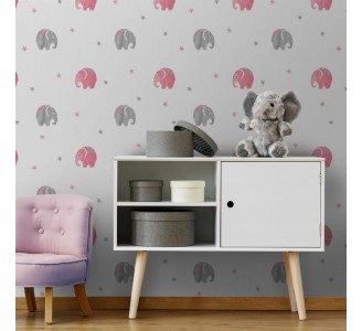 Cute Pink Elephants Removable Wallpaper