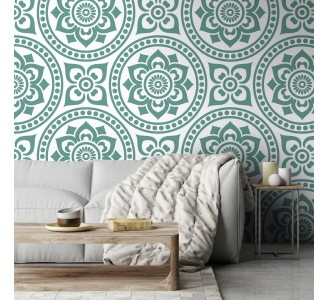 Seamless Green Flowers Removable Wallpaper