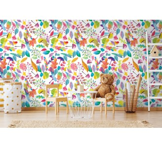 Rainbow Meadow Removable Wallpaper full view
