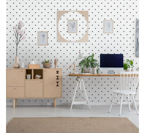 Black Polka Dots Removable Wallpaper