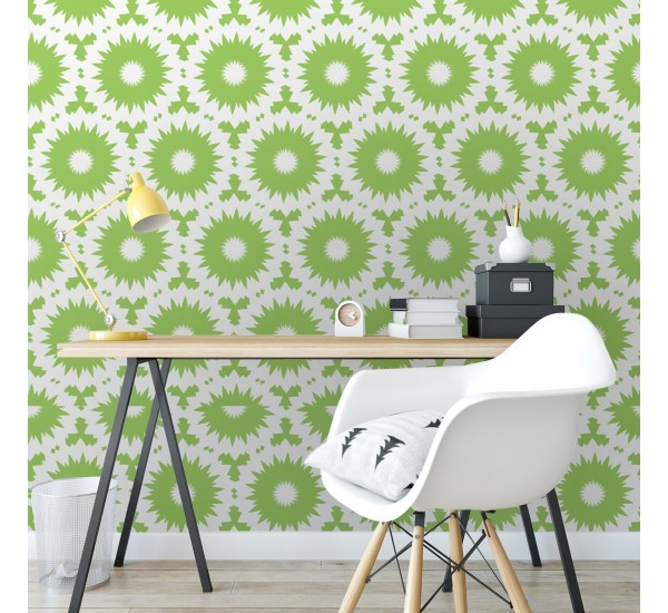 Green Retro Shapes Removable Wallpaper