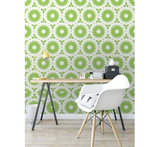 Green Retro Shapes Removable Wallpaper full view