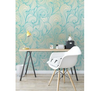 Blue Swirls Removable Wallpaper full view