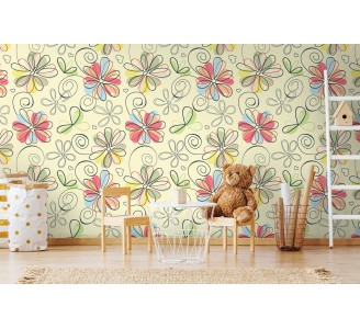 Cartoon Flowers Removable Wallpaper full view