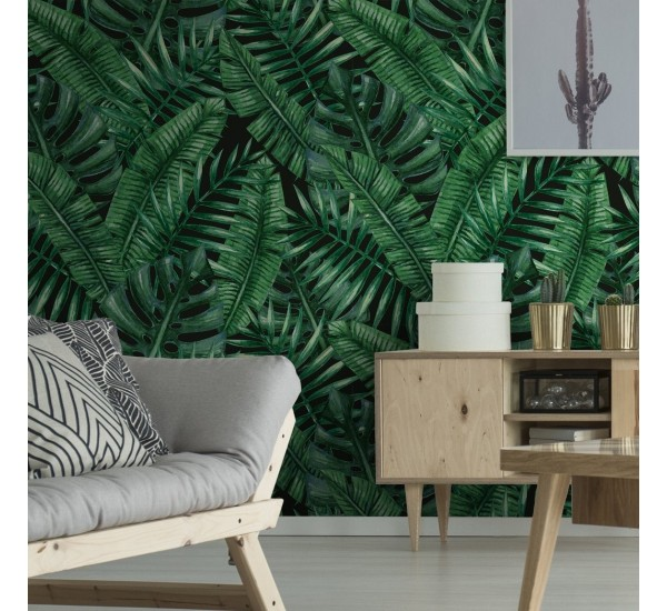 Dark Palm Leaves Removable Wallpaper