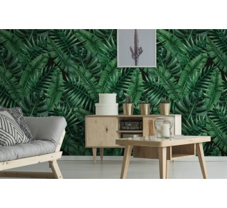 Dark Palm Leaves Removable Wallpaper full view