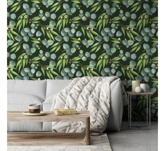 Dark Eucalyptus Removable Wallpaper