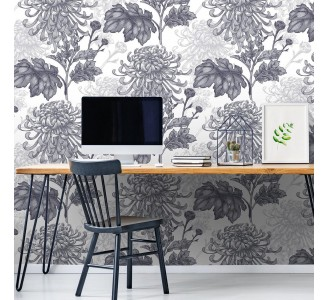 Gray Chrysanthemum Removable Wallpaper