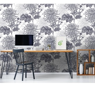 Gray Chrysanthemum Removable Wallpaper full view