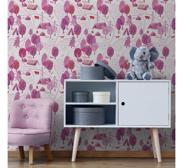 Pink Forest Campside Removable Wallpaper