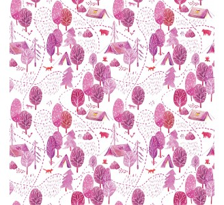 Pink Forest Campside Removable Wallpaper pattern
