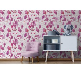 Pink Forest Campside Removable Wallpaper full view
