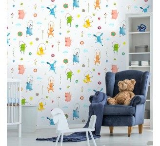 Cartoon Animals Removable Wallpaper