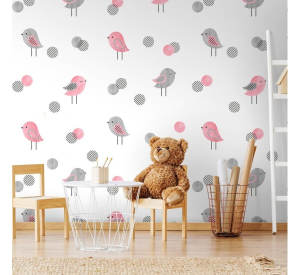 Gray and Pink Birds Removable Wallpaper